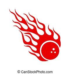 ボール, 燃焼, 火の印, 暑い, 炎, ボウリング, 赤