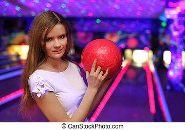 ボール, 立つ, クラブ, 準備, ボウリング, 女の子, 投球, 赤