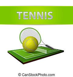 ボール, 紋章, テニス, フィールド, 緑の草