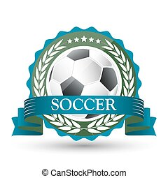 ボール, 紋章, wreath., リボン, 月桂樹, サッカー