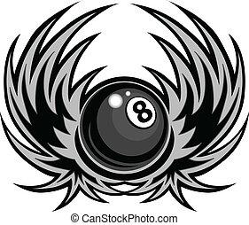 ボール, 翼, 8, vec, ビリヤード