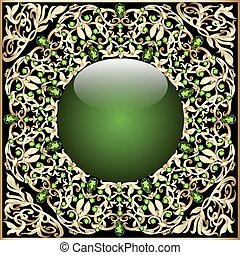 ボール, 背景, 金, フレーム, ガラス, 装飾