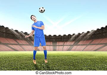 ボール, 若い, ジャンプ, プレーヤー, アジア人, サッカー, ヘッディング, 人