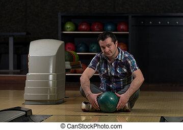 ボール, 若い, 朗らかである, 保有物, ボウリング, 人