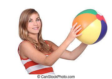 ボール, 若い, 浜, 女性の保有物