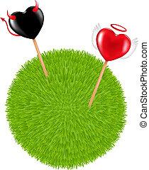 ボール, 草, lollipops, 2
