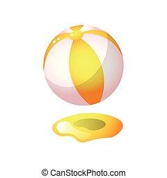 ボール, 金, 色, 暑い, ゴム, 砂, オレンジ, 浜