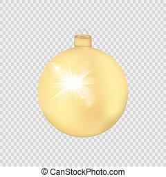 ボール, 金, 透明, 隔離された, クリスマス, ベクトル, バックグラウンド。, illustration.