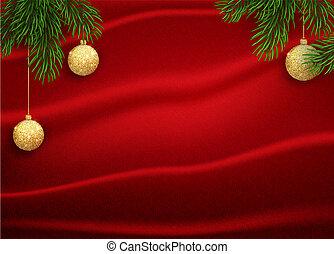 ボール, 金, colour., イラスト, ベクトル, 背景, きらめき, クリスマス, 赤