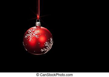 ボール, 鈍い, 黒い背景, 掛かること, クリスマス, 赤