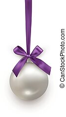 ボール, 銀, すみれ, 隔離された, 弓, バックグラウンド。, ベクトル, デザイン, リボン, 年, 新しい, 白い クリスマス, element.
