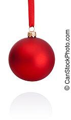 ボール, 隔離された, リボン, 背景, 掛かること, 白い クリスマス, 赤