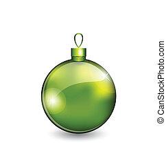 ボール, 隔離された, 緑の背景, 白い クリスマス