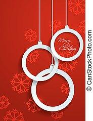 ボール, 雪片, ペーパー, 背景, 白い クリスマス, 赤