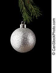 ボール, 黒, 隔離された, 背景, クリスマス