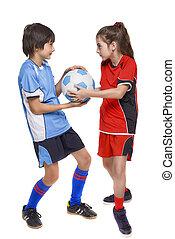 ボール, 2, 戦い, プレーヤー, サッカー, 子供