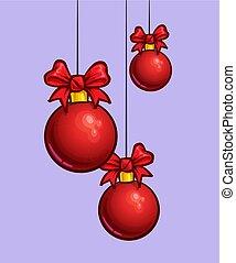ボール, -, 3, 漫画, 掛かること, クリスマス, 赤, アイコン