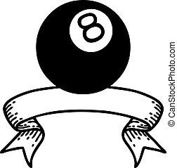 ボール, 8, 旗, 入れ墨, 黒, linework