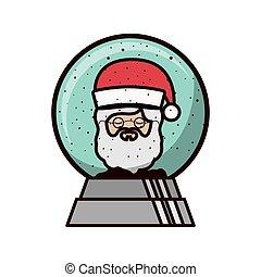 ボール, claus, 顔, 水晶, サンタの 帽子, クリスマス
