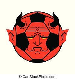 ボール, demon., イラスト, ベクトル, devil., サッカー, 赤