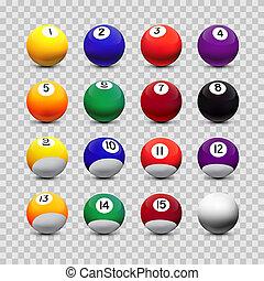 ボール, elements., 分類される, 隔離された, バックグラウンド。, ビリヤード, ベクトル, デザイン, 透明