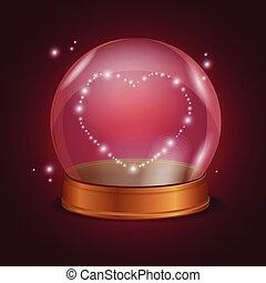 ボール, heart., バレンタイン, 水晶, ベクトル, 空