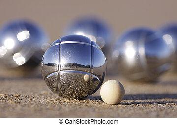ボール, petanque, 砂のビーチ