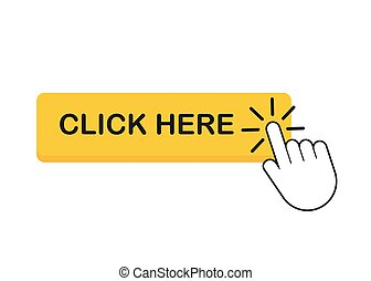 ポインター, ここに, 手, clicking., クリック, ボタン, illustration., ベクトル, 株