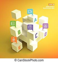 ポインター, 立方体, 背景, ビジネス, 3d