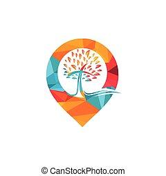 ポインター, locator, 地図, icon., シンボル, ∥あるいは∥, ロゴ, 教会, gps, design.