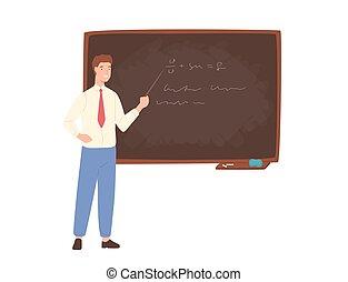 ポインター, style., 地位, 促すこと, 寄付, lecture., 教師, ∥横に∥, 保有物, 平ら, 大学, カラフルである, 労働者, 教育, イラスト, 黒板, 漫画, 学校, 教授, ベクトル, マレ, ∥あるいは∥