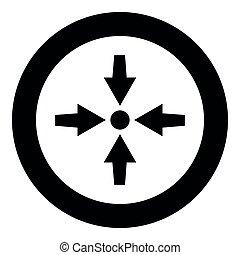 ポイント, イメージを彩色しなさい, ショー, 矢, イラスト, 4, 単純である, ベクトル, 黒, 点, アイコン
