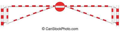 ポイント, ブロッカー, 明るい, 警告, ゲートで制御される, signage, クローズアップ, いいえ, 限られた, 隔離された, 方法, 車, 門, 白, 閉じられた, 道路, 入口, 停止, 障壁, 印, 止まれ, シンボル, 交通, 赤, バー, 出入口, 区域, roadsign, チェックポイント, ブロック, 記入項目, セキュリティー, 道