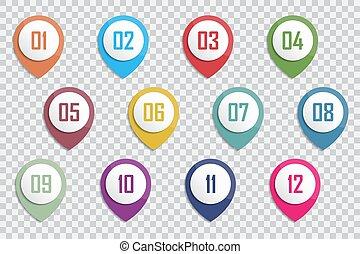 ポイント, ベクトル, 銃弾, 数, カラフルである, マーカー, 12, 1, 3d