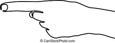 ポイント, 印。, 絶え間がない, イラスト, 手, ベクトル, 左, 線, 1(人・つ), 左