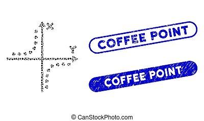 ポイント, 楕円, hyperbola, スタンプ, コーヒー, モザイク, プロット, 苦脳