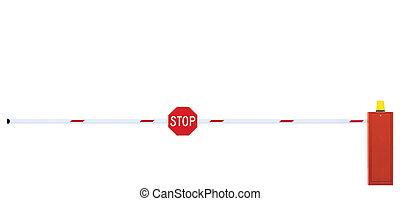 ポイント, 黄色, 印, 警告, ゲートで制御される, クローズアップ, フラッシュ, 隔離された, チェックポイント,...