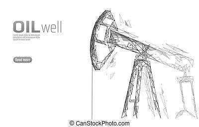 ポイント, poly, 用具一式, デリック, juck, concept., 石油, polygonal, 低い, 燃料, 白, 経済, 点, オイル, 金融, ビジネス, ガソリン, イラスト, ボーリングする, 線, production., 産業, 井戸, 接続, ベクトル, pumpjack