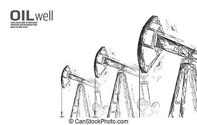 ポイント, poly, 用具一式, デリック, juck, concept., 石油, polygonal, 低い, 燃料, 経済, 点, オイル, 金融, ビジネス, ガソリン, ポンプ, イラスト, ボーリングする, 線, production., 産業, 井戸, 接続, ベクトル, pumpjack