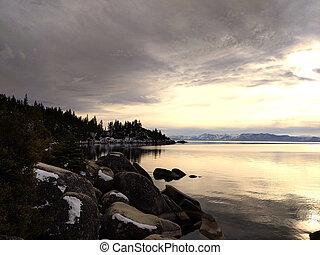 ポイント, tahoe, 見晴らし場, 景色, 記念, ネバダ, 湖