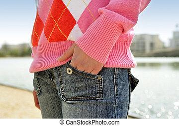 ポケット, ジーン, 女, 彼女, 手