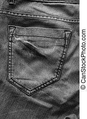 ポケット, デニム, 黒い背景