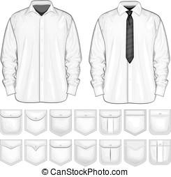 ポケット, ベクトル, ワイシャツ, コレクション