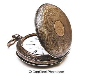ポケット, 古い, 開いた, 時計