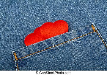 ポケット, 心, ジーンズ, 赤