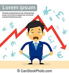 ポケット, 財政, ショー, グラフ, 叫び, 下方に, 空, 矢, 秋, ビジネスマン, 危機, 赤