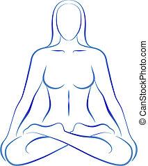 ポジション, 瞑想, 女, ヨガ