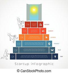 ポジション, 6, の上, はしご, ステップ, テンプレート, infographics, ビジネスマン