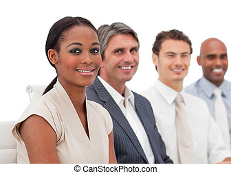 ポジティブ, ビジネス 提示, グループ, 多民族