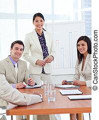 ポジティブ, プレゼンテーション, 女性実業家